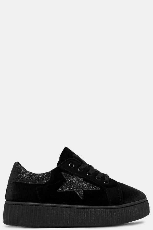 Black Glitter Panels And Star Lace Up Velour Shoes - SinglePrice