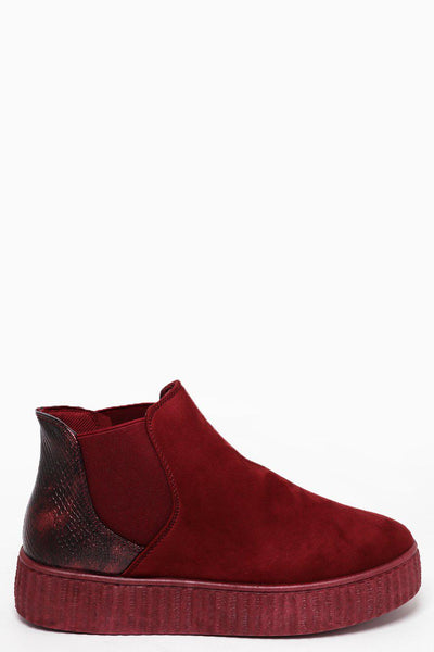 Snake Effect Back Wine Red Suedette Chelsea Boots-SinglePrice