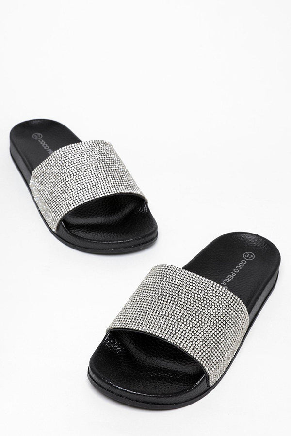 Crystals Embellished Black Sliders-SinglePrice