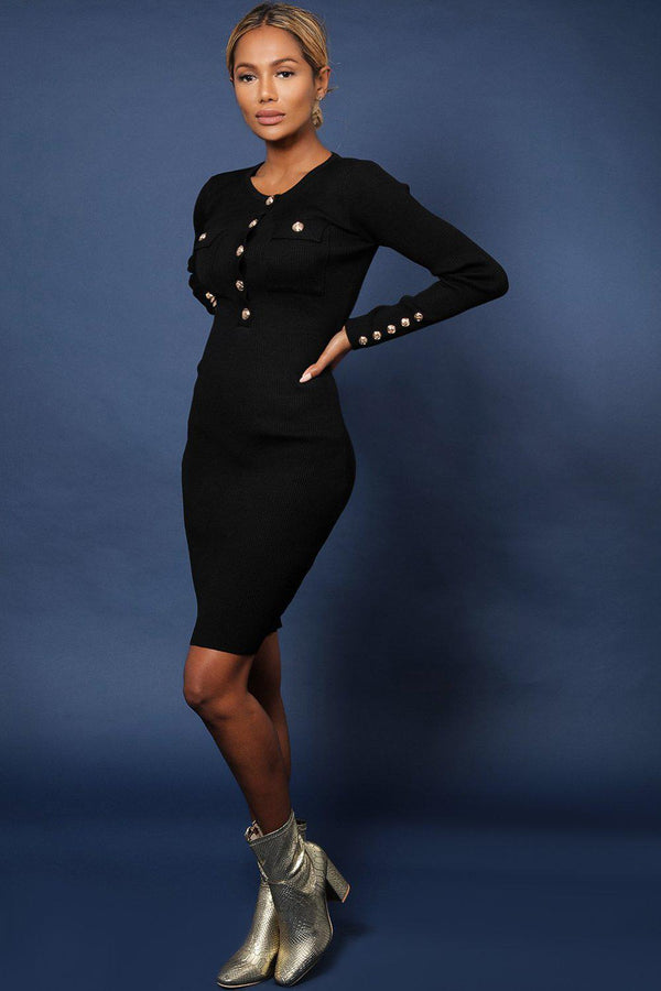 Black Military Style Ribbed Midi Bodycon Dress-SinglePrice
