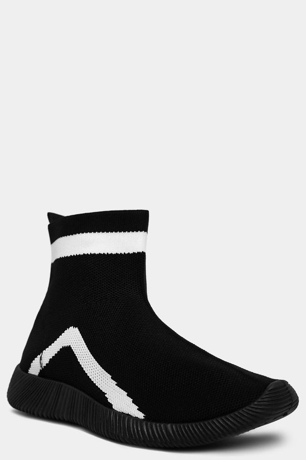 Black Contrast Colourblock Panels Sock Trainers-SinglePrice