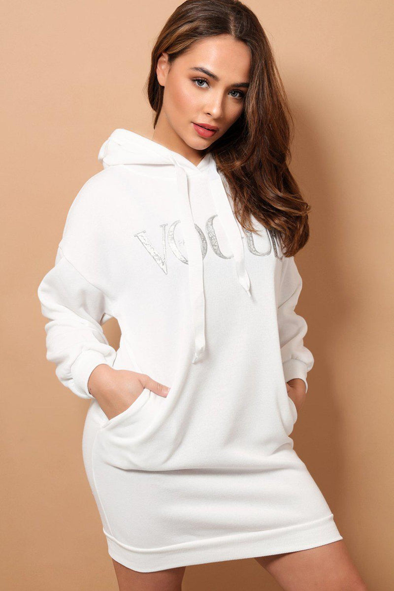White Fleece-Lined Slogan Hooded Sweater Dress - SinglePrice