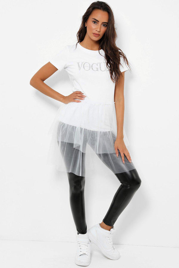 White Slogan Mesh Layered Hem Top - SinglePrice