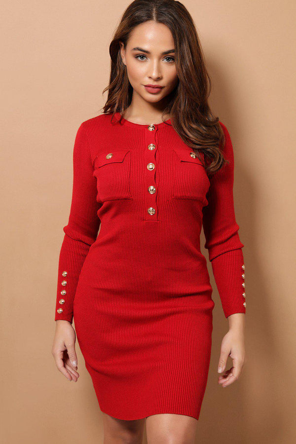 Red Military Style Ribbed Midi Bodycon Dress-SinglePrice