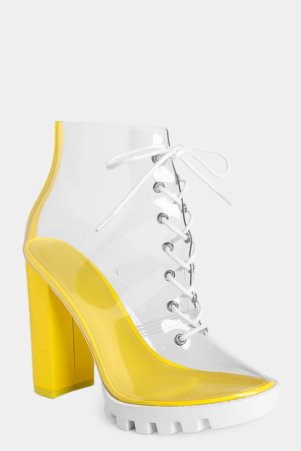 Yellow Transparent Perspex Block Heel Boots - SinglePrice