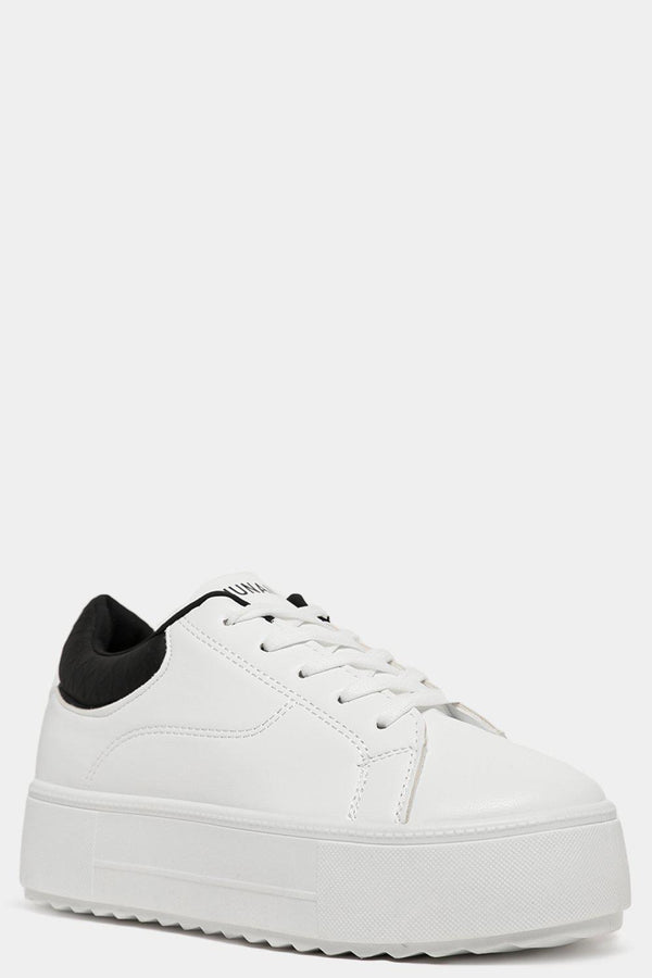 Black Python Print Cuffs White Vegan Leather Trainers-SinglePrice