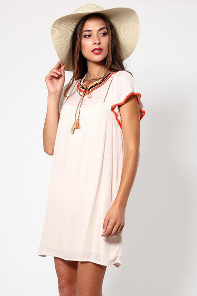 Embroidered Neckline Frill Sleeve Beige Dress-SinglePrice