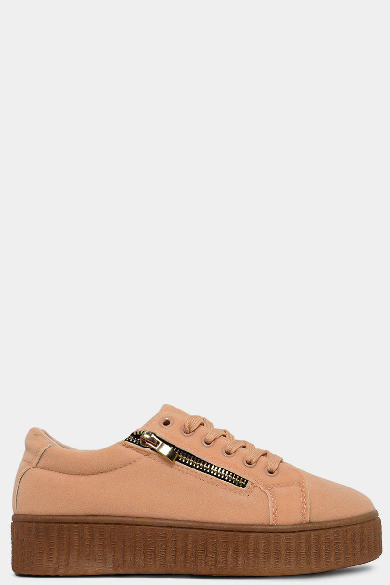 Khaki Vegan Nubuck Leather Zip Detail Plimsolls - SinglePrice