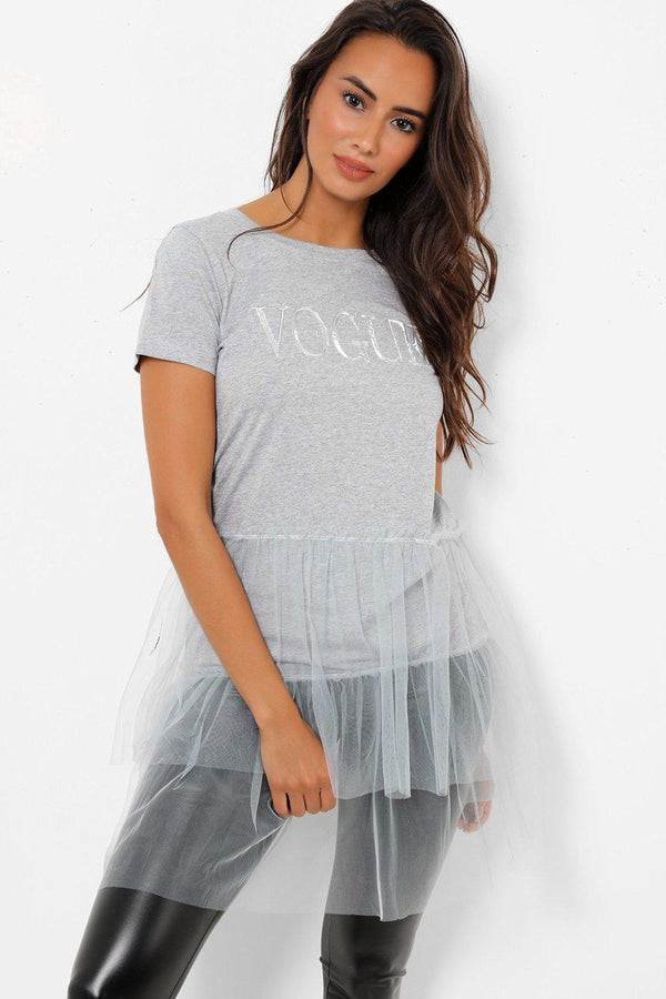 Grey Slogan Mesh Layered Hem Top