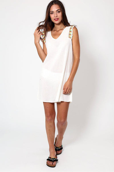 Embroidered Shoulder Frills White Sheer Beach Dress-SinglePrice