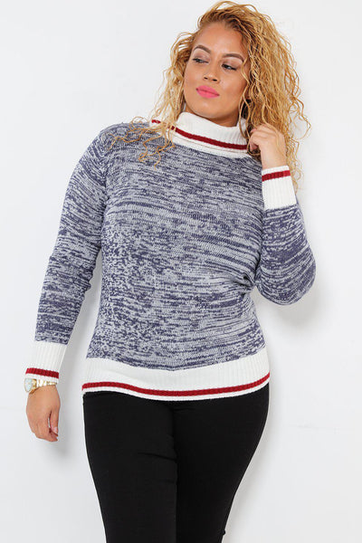 Red Stripe Roll Neck Navy Speckled Knit Pullover-SinglePrice