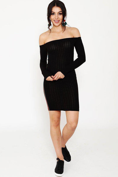 Stripe Tape Black Off Shoulder Dress-SinglePrice
