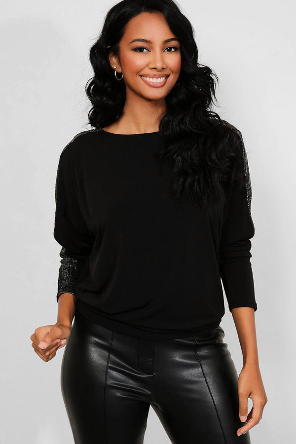 Black Shimmer Sleeves Stripe Batwing Top
