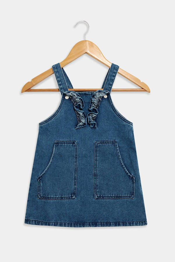 Blue Front Pockets Frill Details Denim Pinafore Dress - SinglePrice