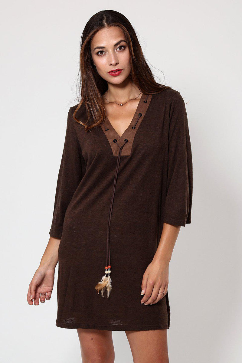 Feather Tassels Brown Shift Dress - SinglePrice