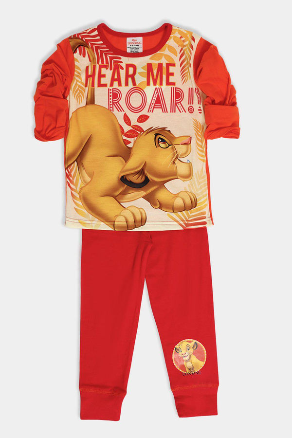 Mustard Red Lion King Cartoon Print Kids Set - SinglePrice