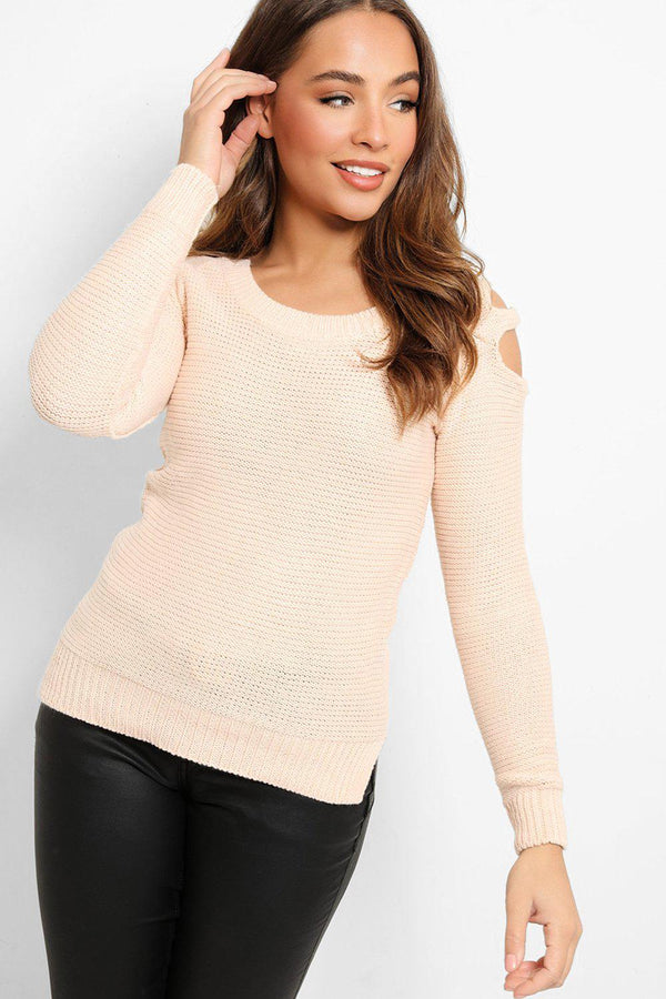 Pink Cut Out Shoulder Details Purl Knit Pullover - SinglePrice
