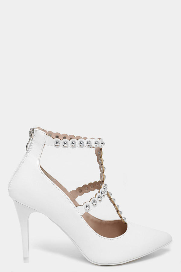 Studded Scallop Straps White Pointed Heels-SinglePrice