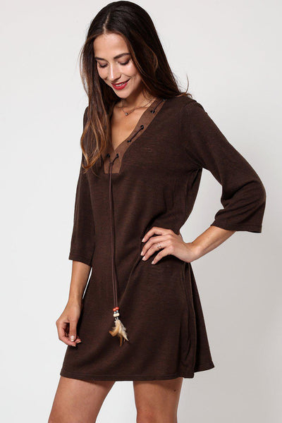 Feather Tassels Brown Shift Dress-SinglePrice