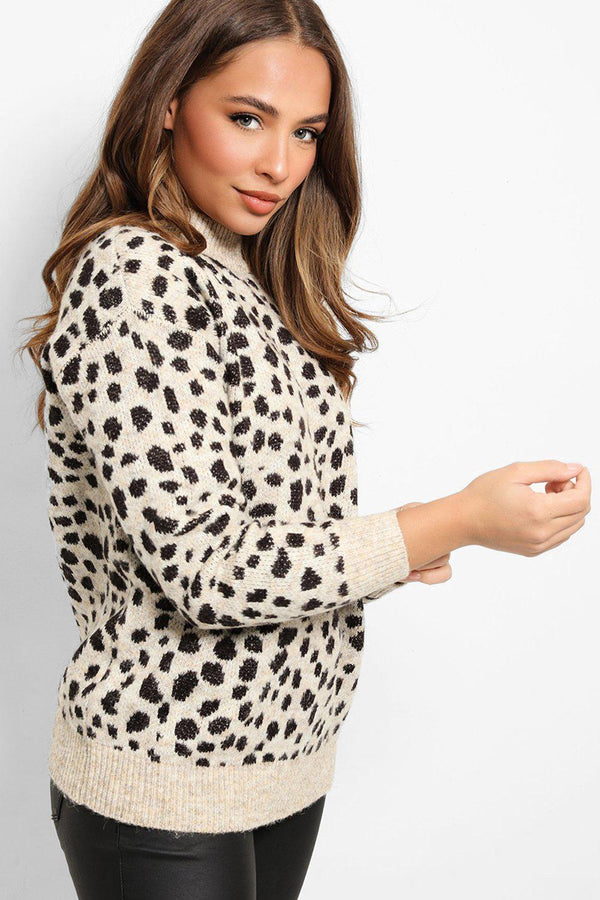 Cream Leopard Print High Neck Pullover - SinglePrice