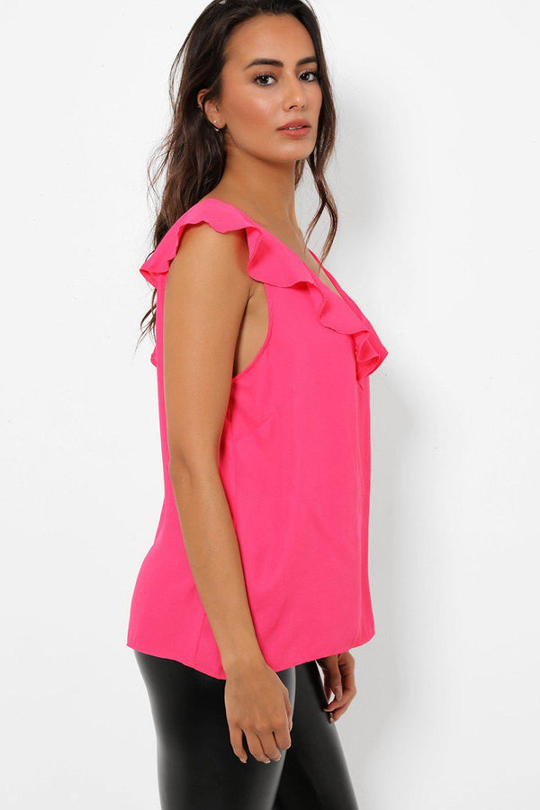 Plunge V Neck Hot Pink Top