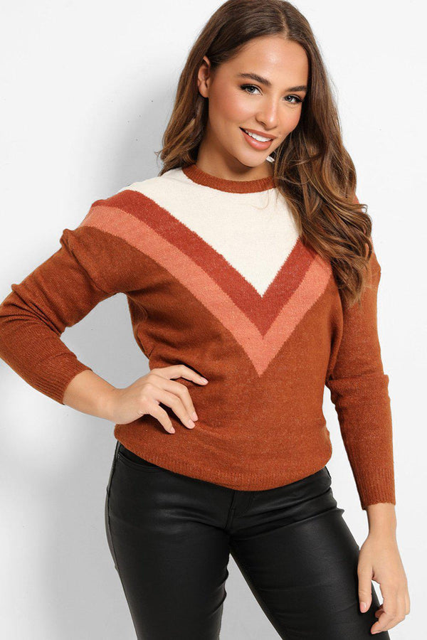 Brown Cream Colour-Blocking Flat Knit Pullover - SinglePrice