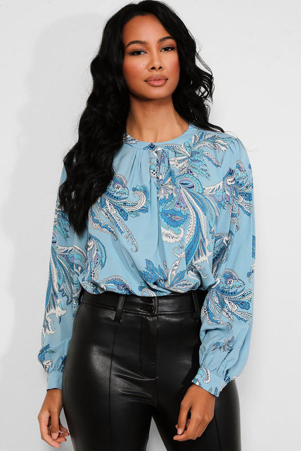 Blue Paisley Floral Print Blouse - SinglePrice