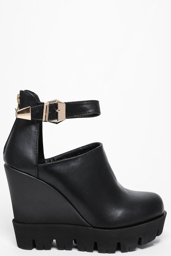 Ankle Strap Black Cleated Wedges-SinglePrice