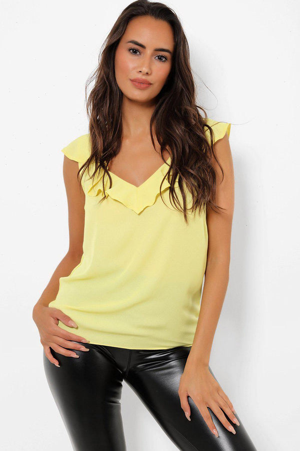 Plunge V Neck Yellow Top