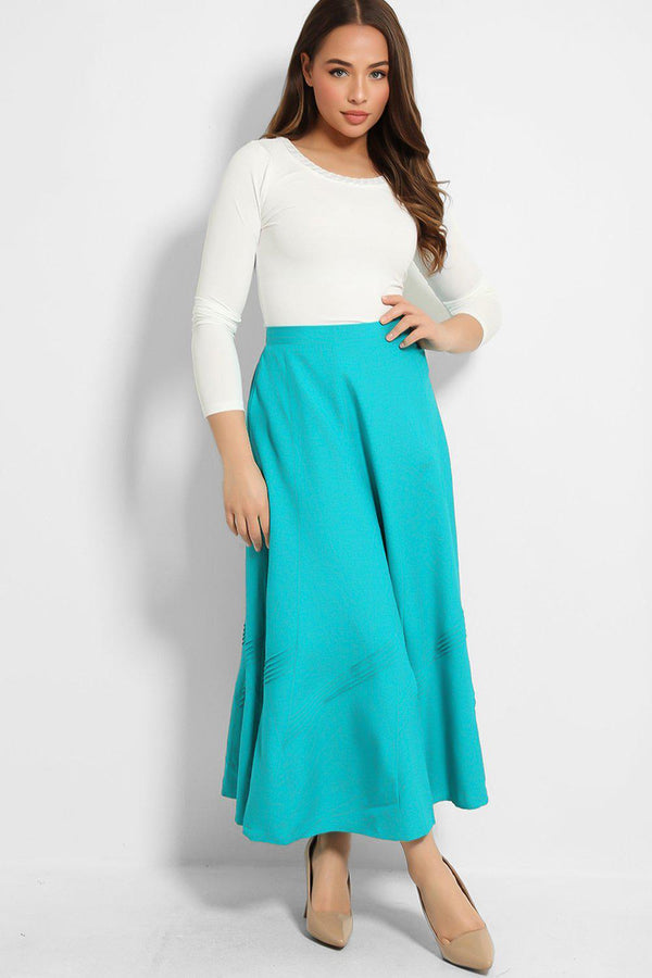 Aqua Pleated Details Maxi Skirt - SinglePrice