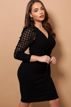 Black Dogtooth Mesh Puff Sleeves Rib Knit Midi Dress - SinglePrice