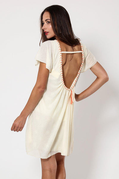 Low Back Pleated Detail Cream Dress-SinglePrice