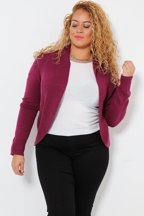 Purple Curved Hem Ribbed Knit Bollero-SinglePrice