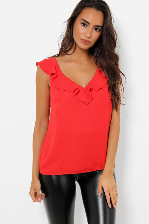 Plunge V Neck Red Top
