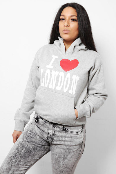 Grey I Love London Hoodie-SinglePrice