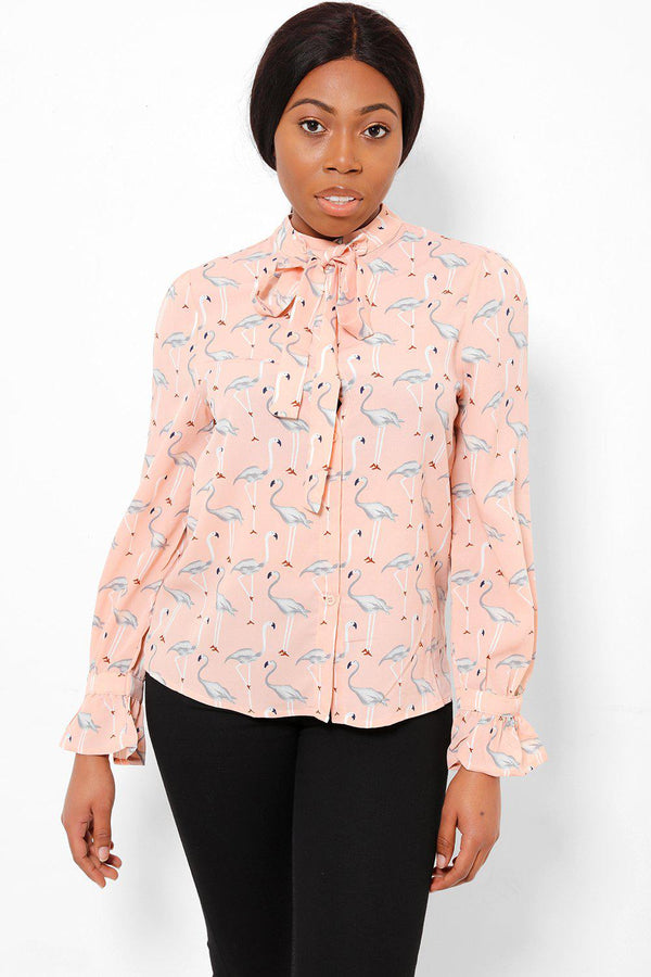 Flamingo Print Detachable Neck Tie Salmon Shirt-SinglePrice