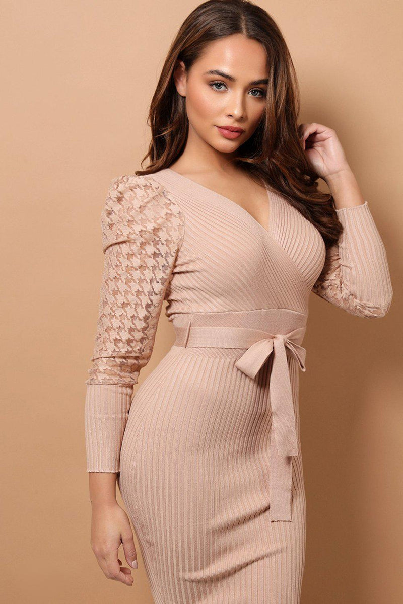Beige Dogtooth Mesh Puff Sleeves Rib Knit Midi Dress - SinglePrice