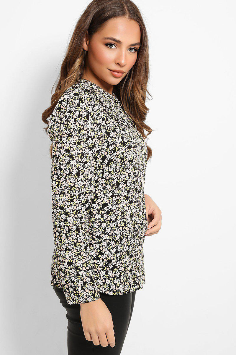 Black Pastel Flowers Print Top - SinglePrice