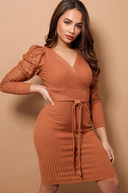 Camel Dogtooth Mesh Puff Sleeves Rib Knit Midi Dress - SinglePrice