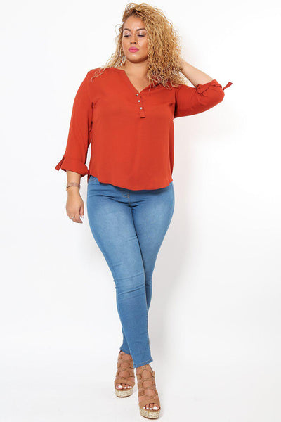 Silver Hardware Roll Up Sleeve Rust Blouse-SinglePrice
