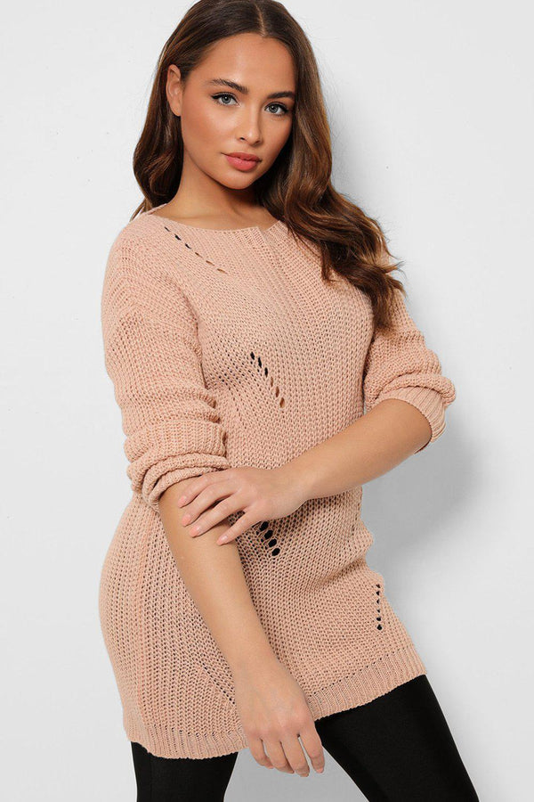 Pink Distressed Ripped Back Pullover