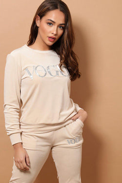 Cream Slogan Supersoft Velvet 2 Piece Tracksuit - SinglePrice