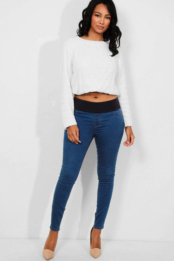Blue Elastic Belly Support Maternity Skinny Jeans - SinglePrice