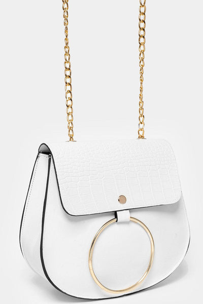 Circle Mock Croc Flap White Handbag-SinglePrice