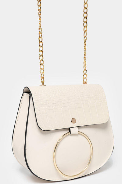Circle Mock Croc Flap Cream Handbag-SinglePrice