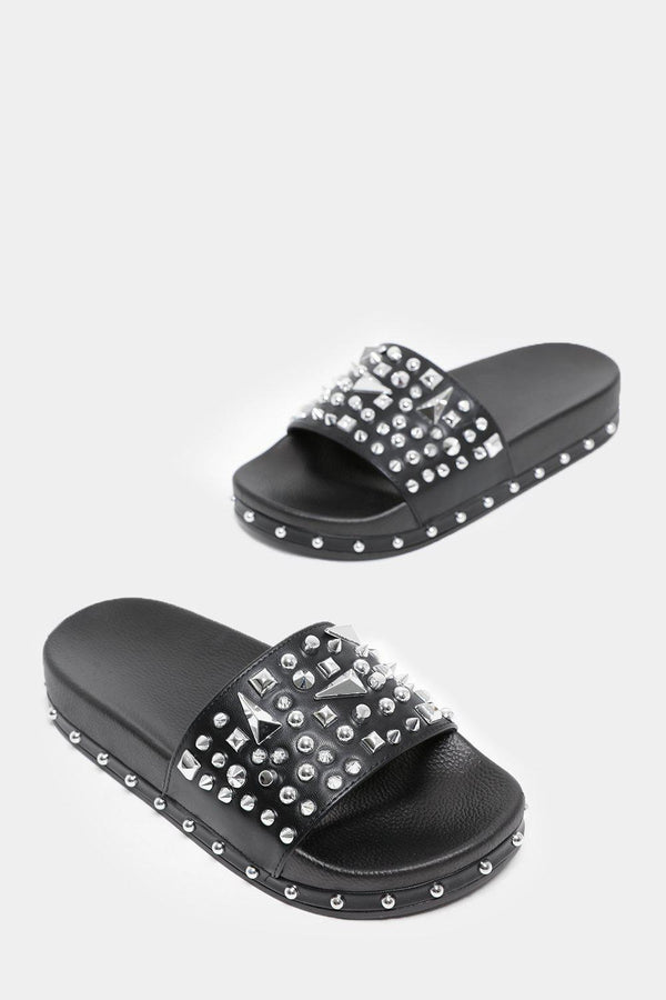 Spike Studs Embellished Black Sliders-SinglePrice