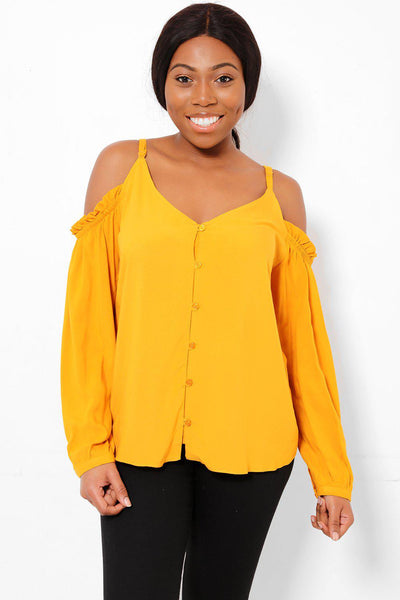 Mustard Cold Shoulder Blouse-SinglePrice