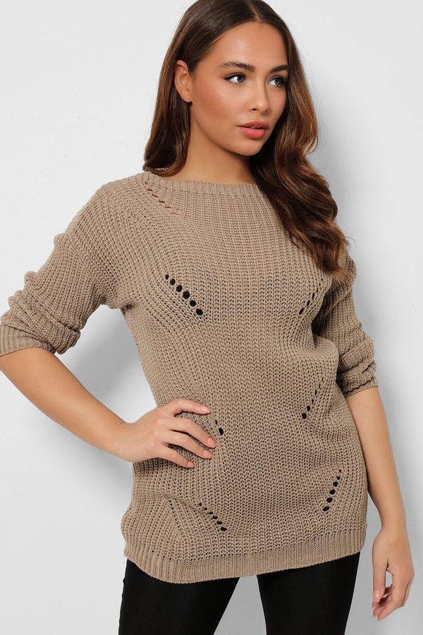 Taupe Distressed Ripped Back Pullover