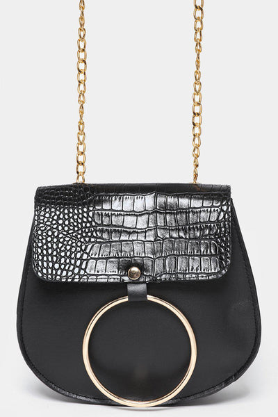 Circle Mock Croc Flap Black Handbag-SinglePrice