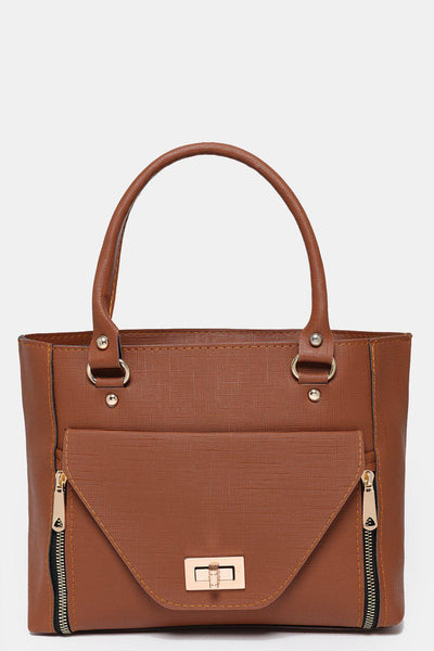Large Flap Pocket To Front Brown Tote Bag-SinglePrice